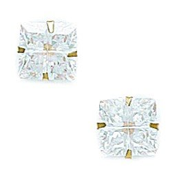 14k Yellow Gold 7x7mm 4 Segment Square CZ Light Prong Set Earrings - JewelryWeb