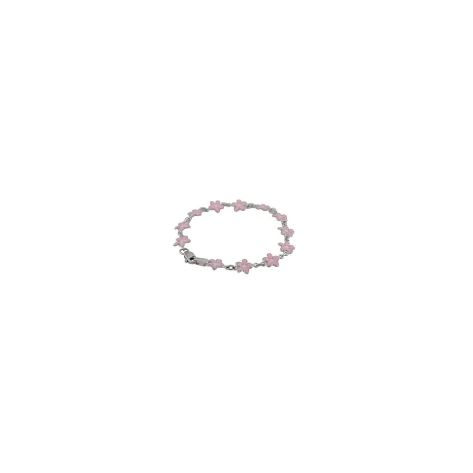 18K White Gold Pink Enamel Flower Braearringslet