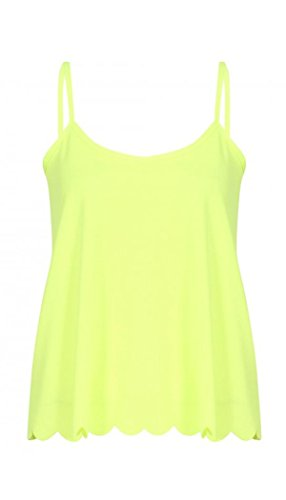Womens Thing String Scallop Edge Cami Vest Top (Mtc) ((Us 8/10) (Uk 12/14), Lime Green)
