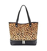 Autograph Leather Leopard Zip Shopper Bag