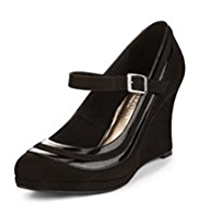 M&S Collection Wide Fit Dolly Wedge Court Shoes with Insolia®