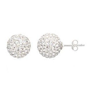 Fashion Womens Authentic Diamond Crystal Ball Stud Earrings Sterling Silver Post 2 Carats Weight (Dia 6mm)