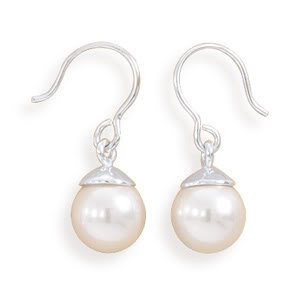 White Simulated Pearl Earrings on French Wire
