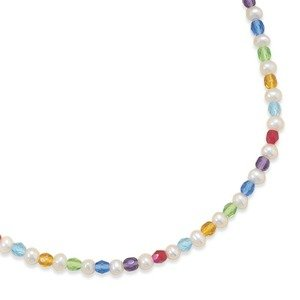 Childrens Pearl and Multicolor Czech Glass Bead Necklace - Made in the USA