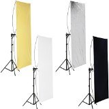 Neewer 35″ x 70″/ 90 x 180cm Photo Studio Gold/Silver & Black/White Flat Panel Light Reflector with 360 degree Rotating Holding Bracket and Carrying Bag