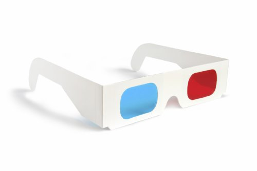 3d Glasses Red/blue Cyan Paper Card 3-d Anaglyph Glasses White (10 pack)