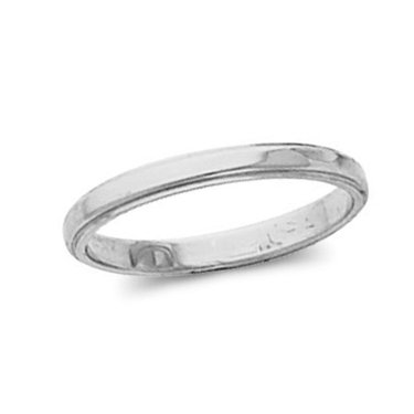 10K White Gold, Flat Edged Wedding Band 2.5MM (sz 14.5)