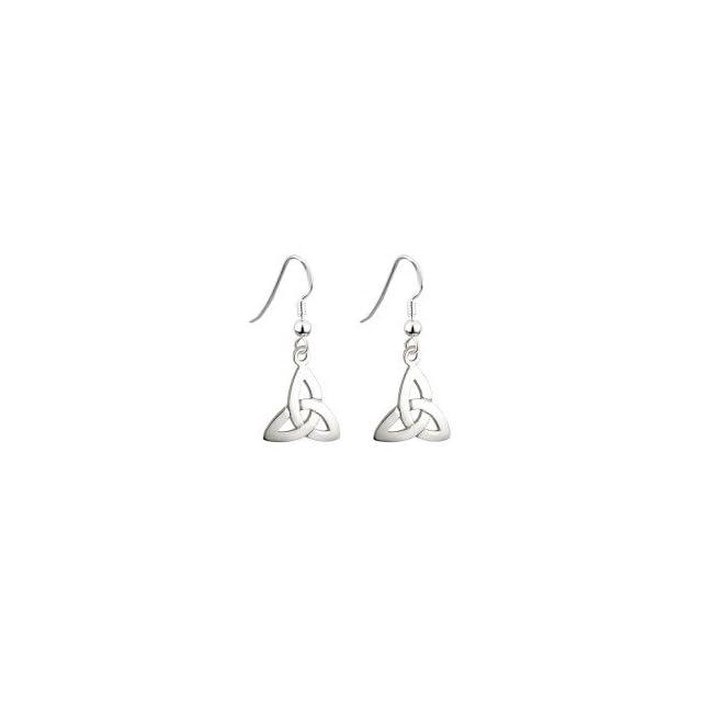 Sterling Silver Irish Trinity Knot Drop Hook Earrings by Solvar
