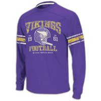 Minnesota Vikings 11 Purple Vintage Applique Long Sleeve Shirt by Reebok (S)