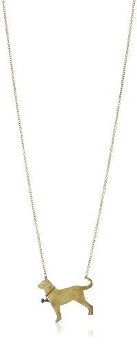 Monserat De Lucca Brass Labrador with Bone Collar Necklace, 29.5