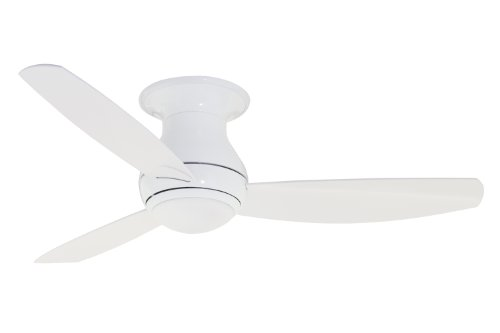 Emerson Ceiling Fans CF152WW Curva Sky 52-Inch Modern Low Profile/Hugger Indoor Outdoor Ceiling Fan With Light And Remote, Wet Rated, Appliance White Finish (White Modern Ceiling Fan compare prices)