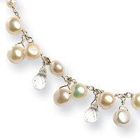 White Cultured Button Pearl Crystal Necklace - 16 Inch - Lobster Claw - JewelryWeb