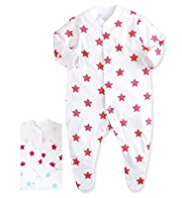 3 Pack Pure Cotton Star Print Sleepsuits