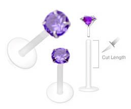 Purple Swarovski Gem Flex Flexible Labret Monroe body jewelry piercing lip targus Ring 16g