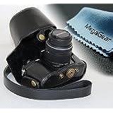 MegaGear Etui souple en cuir pour, Housse pour Olympus OM-D E-M10 avec 14-42mm (Noir)
