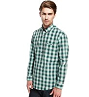 Autograph Cotton Rich Large Gingham Checked Slim Fit Shirt with Linen