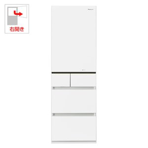 パナソニック 411L 5ドア冷蔵庫(スノーホワイト)【右開き】Panasonic エコナビ NR-E431GV-W