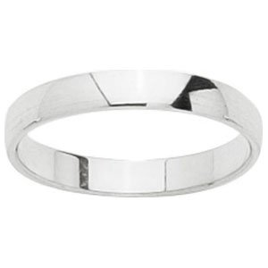 So Chic Jewels - 18k White Gold 3 mm Semi-Rounded Classic Wedding Band Ring