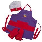 Curious Chef Child Chef Apron Set - Purple & Red