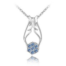 Angel Wing Pendant Necklace Fashion Jewelry (Blue) - 3 Styles in 1 Necklace