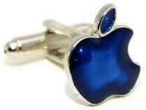 CUFFLINKS SILVER BLUE APPLE FRUIT MAC WEDDING