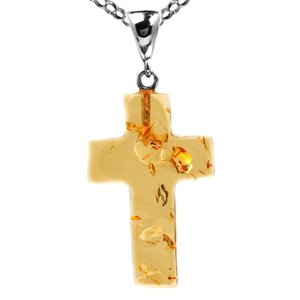 Baltic Lemon Amber and Sterling Silver Cross Pendant, Rolo Chain 18