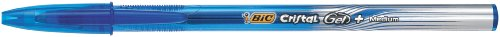 BIC Cristal Gel - Bolígrafo de tinta gel, trazo de 0,5 mm, color azul (20 unidades)