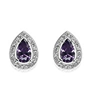 M&S Collection Platinum Plated Pear Diamanté Earrings