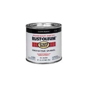 Rust Oleum Metal Saver Paint Oil Base Exterior Interior Gloss Black 1 2 Pt Spray Paints