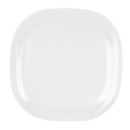 Global Goodwill 1-Piece Jazz Series Round Square Plate, 8-1/4 By 8-1/4-Inch, Jazz White