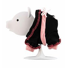 Teacup Piggies Fashion Set Charm Bracelets Black Outfit with White String Bow - 1