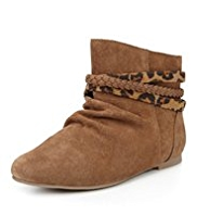 Suede Zipped Ankle High Boots