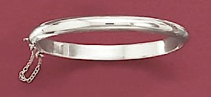 Polished Sterling Silver Hinged Bangle, Safety Chain, 4mm wide, Child-Size, 5-7/8 inch