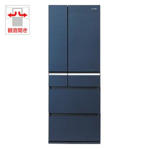 パナソニック 505L 6ドア冷蔵庫(グラファイトブルー)Panasonic エコナビ ナノイー フルフラットガラスドア NR-F518XG-B