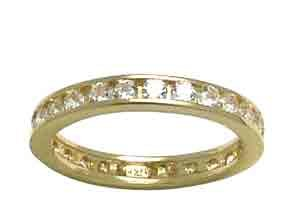 Size 5 Eternity Channel Set Cubic Zirconia Band 14K Yellow Gold Ring