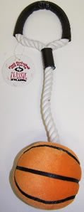 Classic Pet Products Plush and Rope Basketball Tug 16in Dog Toy