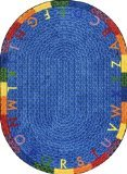 "Joy Carpets Kid Essentials Early Childhood Round Alphabet Braid Rug, Multicolored, 5'4"" - 1"