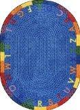 "Joy Carpets Kid Essentials Early Childhood Round Alphabet Braid Rug, Multicolored, 7'7"""
