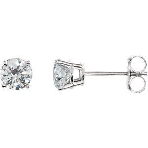 Sterling Silver 4.5mm Round Cubic Zirconia Earrings