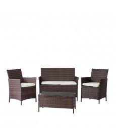Canapé + 2Fauteuils + Table basse en résine tressée marron