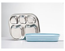 Kangovou Stainless Steel Compartment Plate (Frosted Blueberry)