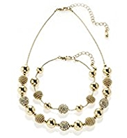 M&S Collection Gold Plated Sandblast Necklace & Bracelet Set
