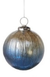 Winter Light Smokey Blue Gray Ombré Ripped Glass Ball 4-inch Christmas Ornament by Melrose