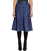 Per Una Cotton Rich Spotted A-Line Denim Skirt