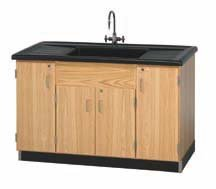 "Diversified Woodcrafts 3303K UV Finish Solid Oak Wood Clean Up Sink, Epoxy Resin Top, 55-1/2"" Width x 36-1/2"" Height x 28"" Depth"