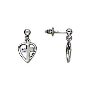 Childrens Teens Heart with Cross Post Stud Dangle Earrings Sterling Silver