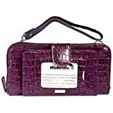 Samantha Brown Double-Wide Leather Wallet Croco-Embossed with Tags - PURPLE