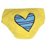 Charlie Banana Swim Diaper and Training Pants - Medium (Blue Petit Coeur on Yellow) - 1