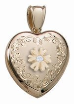 14K Yellow Gold Cremation and Hair Locket w/ Diamond Center - 3/4 inch x 3/4 inch Solid 14K Yellow Gold