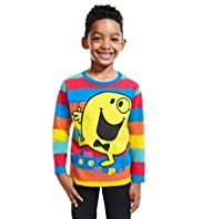 Pure Cotton Mr. Happy Striped T-Shirt